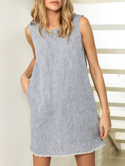 Short linen summer dress, linen mini dress, minimal dress, linen shift dress, gray linen dress