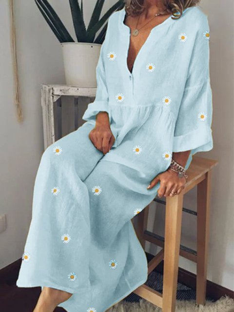 V Neck Cotton Long Sleeve Floral Maxi Dresses