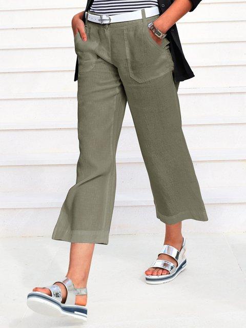 Solid Pockets Crop Pants Women Wide Leg