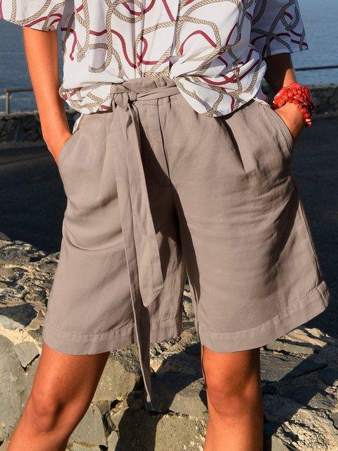 Solid Pockets Shorts Women Wide Leg Pants