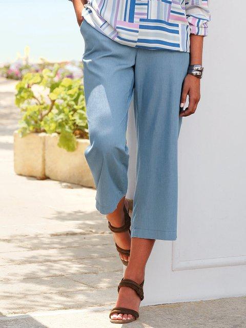 Solid Pockets Crop Pants Women Trousers