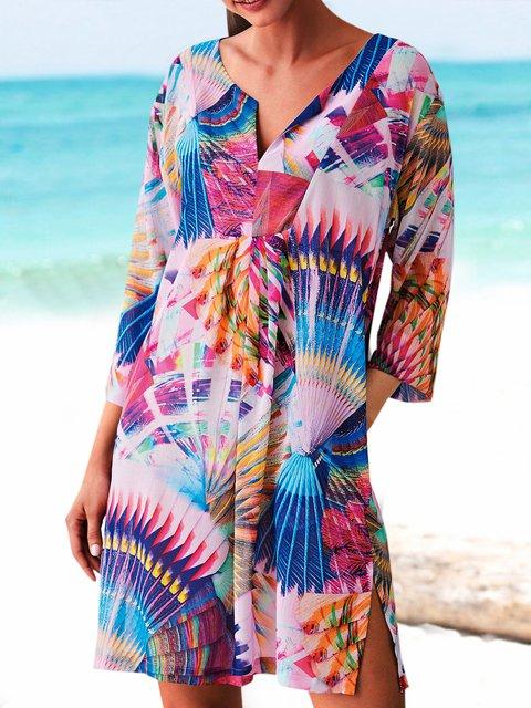 Plus Size Mini Dress Long Sleeve Printed Dresses