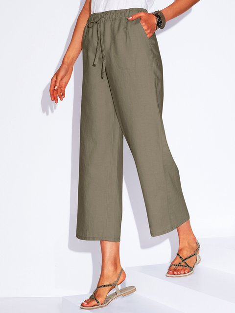 Pockets Solid Pants Women Tapered Trousers