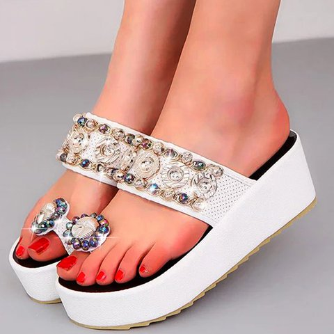 Rhinestone Slip-On Flip-flops Womens Platform Slippers
