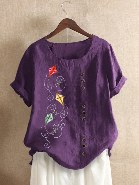 Purple Round Neck Casual Floral-Print Shirts & Tops
