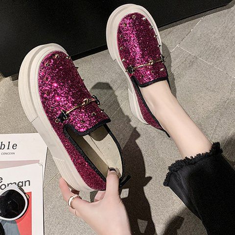 Women Round Toe Slide Sequin All Season Date Sandals