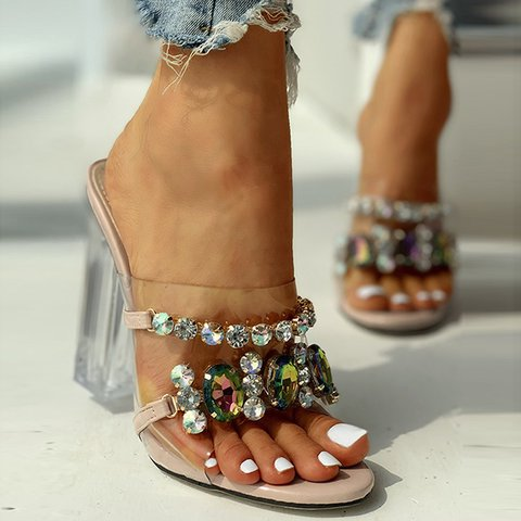 Sexy Gorgeous Crystal Heeled Slippers