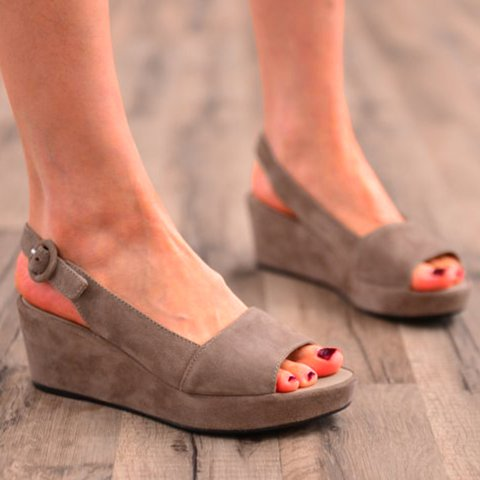 Women's Adjustable Buckle Artificial Suede Platform Open Toe Sandals