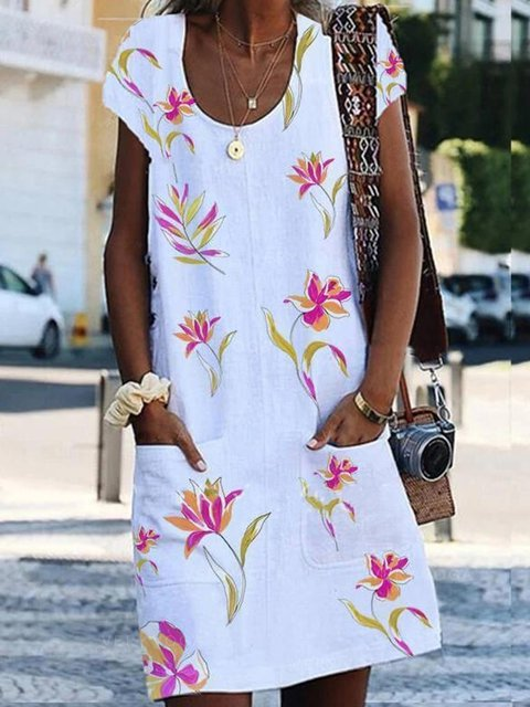 Print Floral Round Neck Casual Dresses