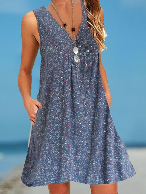 Printed Shift Sleeveless Vacation Boho Dresses