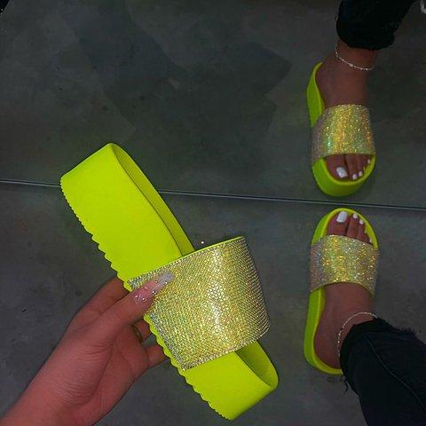 Women's Slip-On Rhinestone Open Toe Platform Casual Slippers