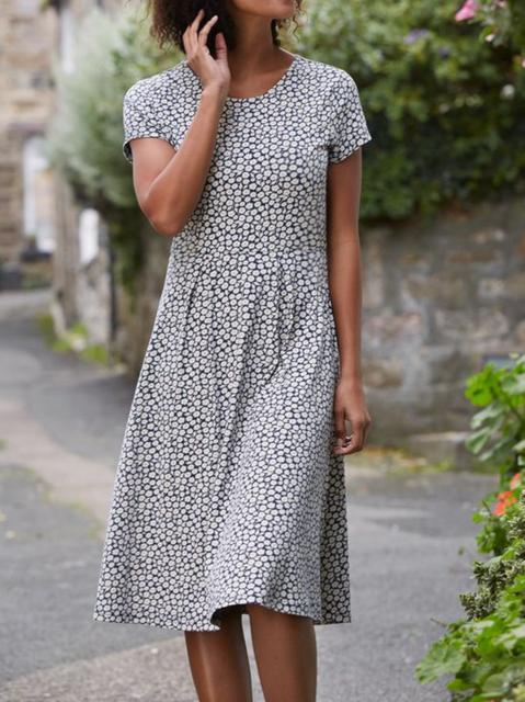 Plus size Crew Neck Printed Short Sleeve Dresses