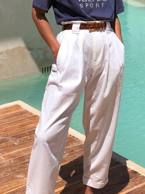 White Solid Pockets Casual Pants