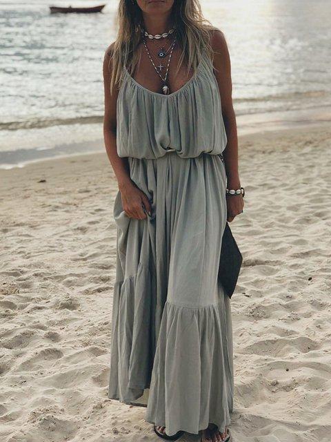 Spaghetti Solid Maxi Dress Summer Women Dresses