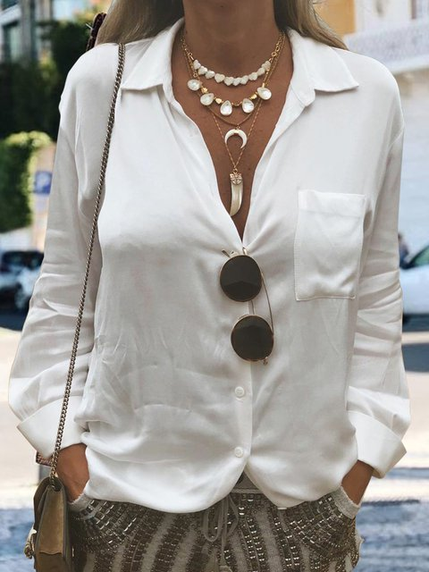 Women Solid Pocket Shirts Long Sleeve Blouses