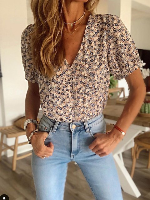 Summer vacation beach vintage floral chiffon top