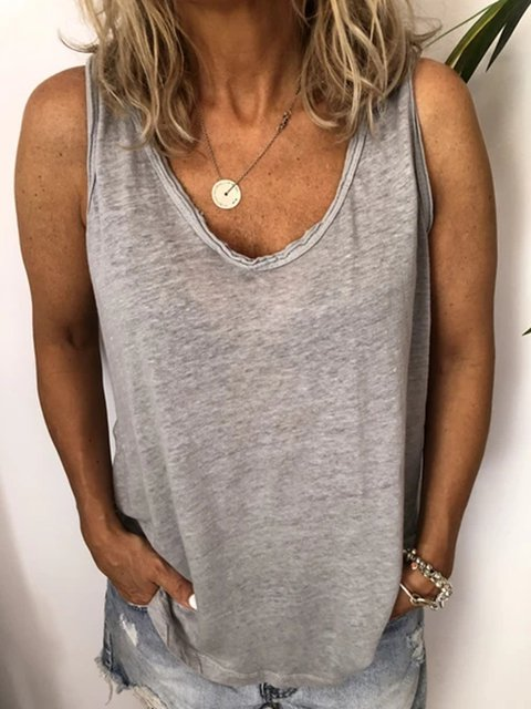 Casual Plus Size V Neck Tank Tops