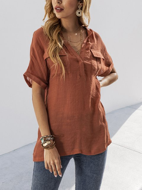Orange Red Linen Casual V Neck Shirts & Tops
