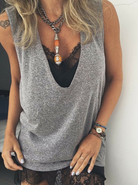 Women Solid Sleeveless Tank Plunging Neck T Shirts