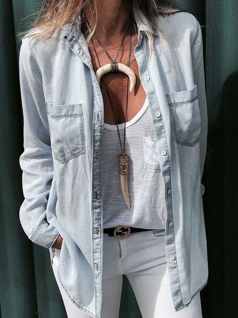 Pockets Denim Blouses Women Long Sleeve Shirts