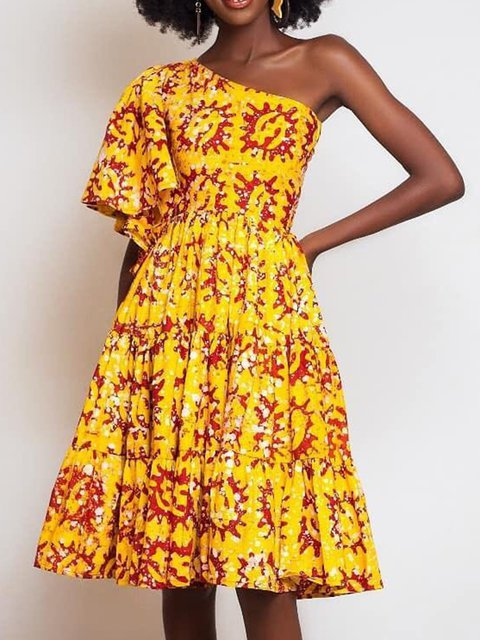 Yellow Sexy Party Floral One Shoulder Frill Sleeve A-Line Dresses