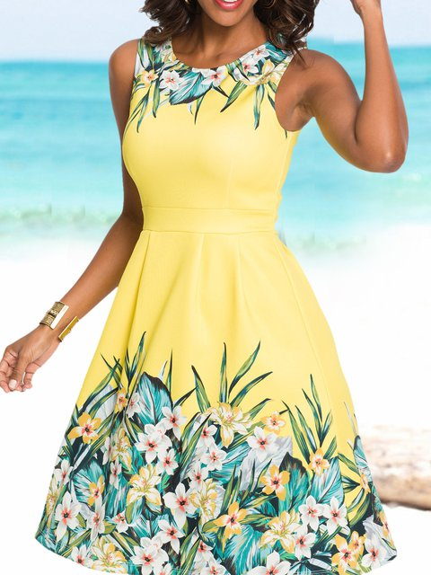 Floral Sleeveless Mini Dress Women Summer Dresses