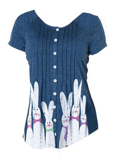 Easter Bunny Women Pleated Details Buttoned Casual Tees