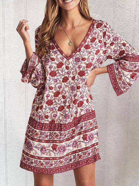 Women Summer V-Neck Vintage Floral Dresses
