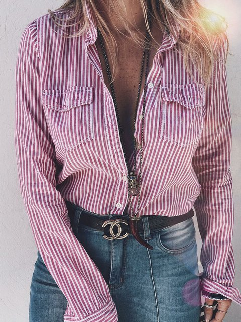 Women Pockets Striped Shirt Long Sleeve Blouses