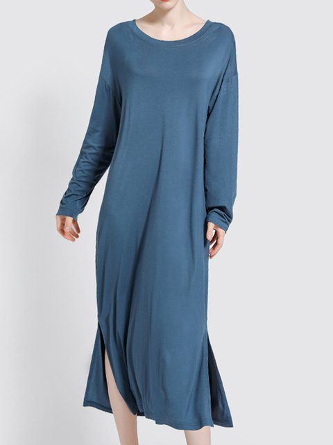 Women Solid Sleepwear Long Sleeve Pajamas Midi Dress