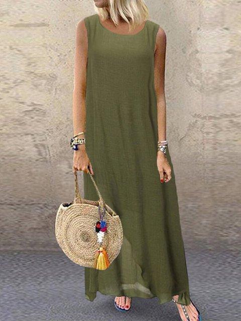 Solid Sleeveless Maxi Dress Women Summer Crew Neck Dresses