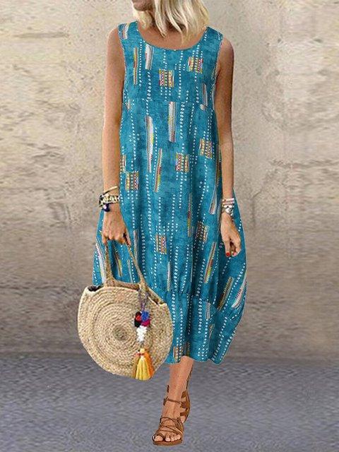 Sleeveless Midi Dress Women Summer Crew Neck Printed Dresses