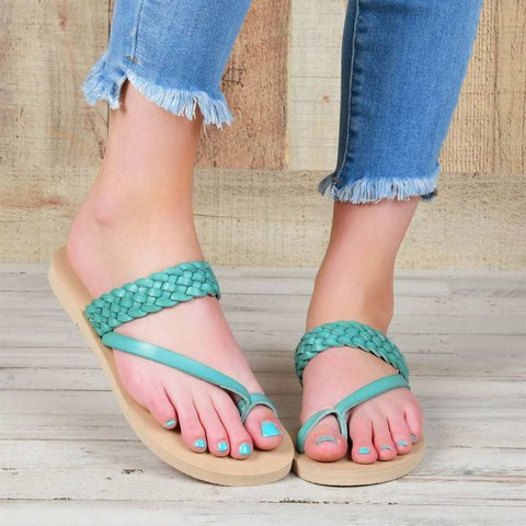 Women's Summer Braided Strap Thong Slippers