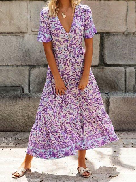 V Neck Purple A-Line Beach Casual Maxi Dress
