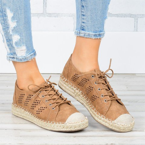 Women's Summer Lace-Up Espadrille Loafers