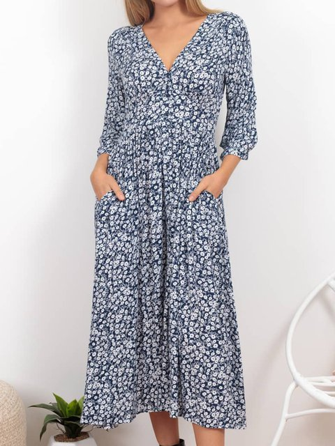 Blue Printed V Neck 3/4 Sleeve Dresses