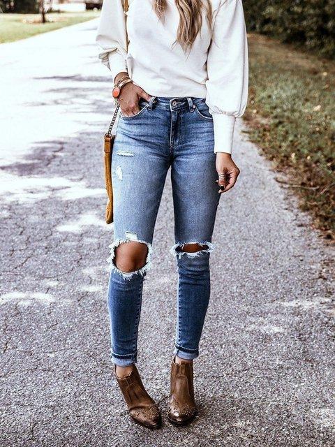Light Blue Plain Casual Denim Ripped Pants