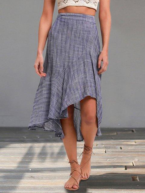 Sexy High Waist Irregular Striped Print Skirt