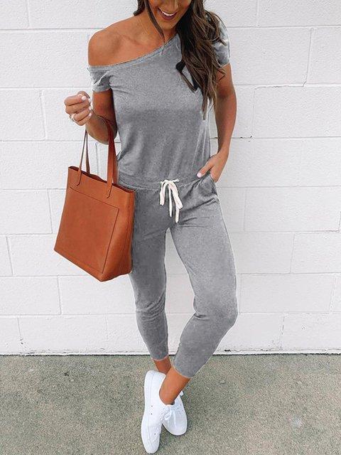 Fashion Lace Up Pocket Casual Vest Jumpsuit