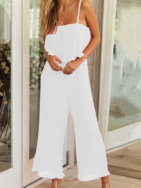 Casual Plain V-Neck Sleeveless Pockets Jumpsuits