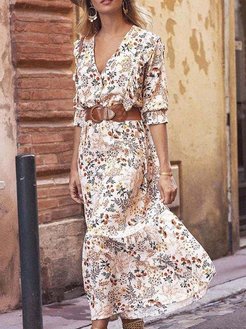 White Boho Cotton-Blend Dresses