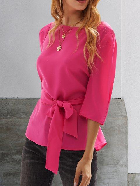 Pink Vintage Crew Neck Shirts & Tops