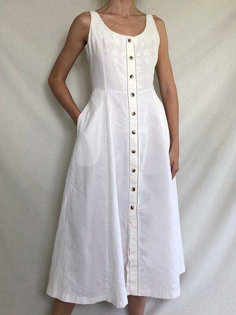 Women Caftan Pockets Buttoned Shift Linen Dresses