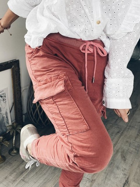 Pink Casual Cotton Pockets Pants