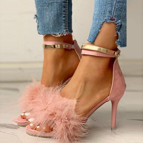 Metallic Feather Party Heel Sandals