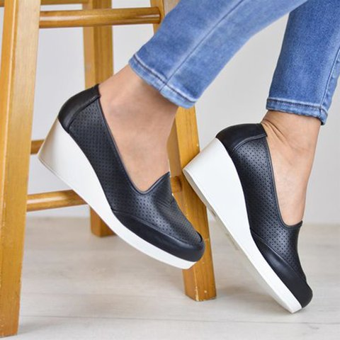 Women Wedge Heel Slip-On Pu Hollow Out Loafers