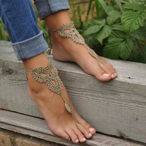 Crochet Tan Barefoot Foot Jewelry