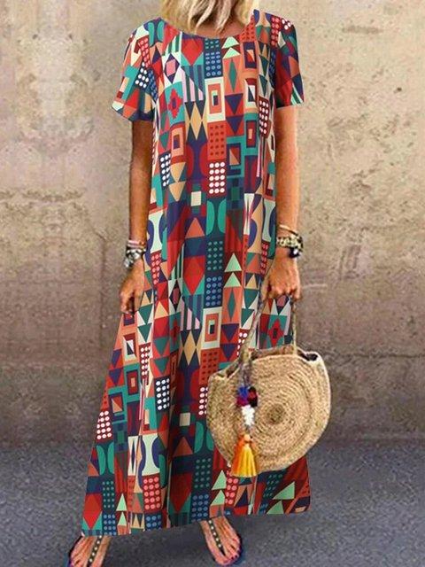 Boho Cotton Crew Neck Short Sleeve Vintage Maxi Dresses