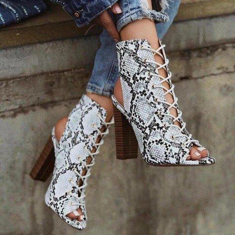 Women Snakeskin High Heel Summer Shoes