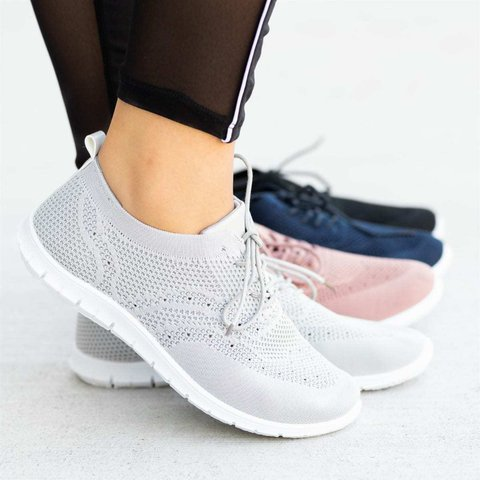 Summer Sports Lace-Up Flyknit Fabric Sneakers